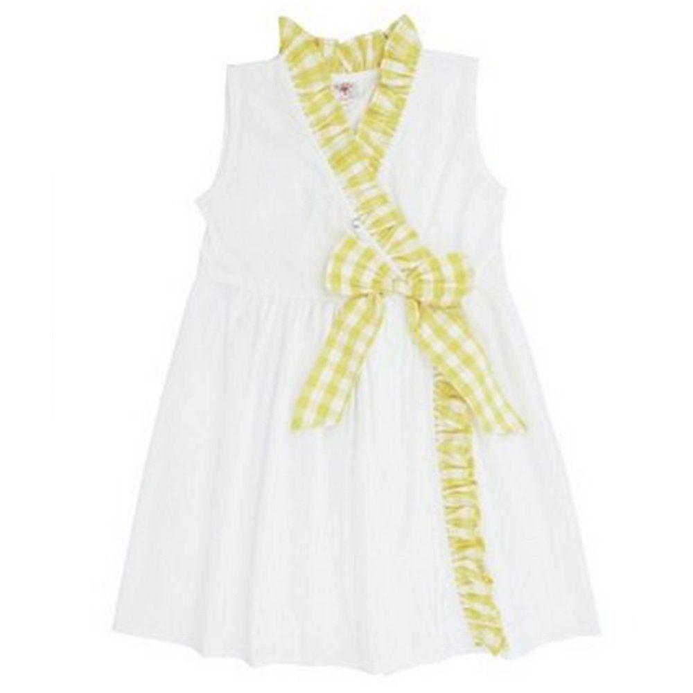 美國 RuffleButts - 寶寶/兒童洋裝-白色/黃格子洋裝