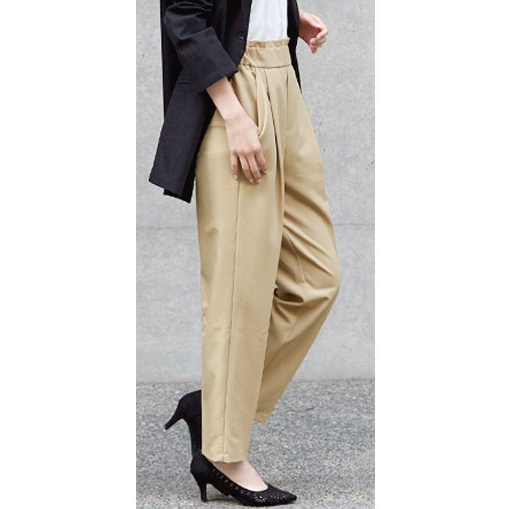 日本女裝代購 - 高腰打褶美腿西裝褲-淺杏
