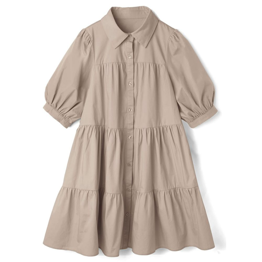 日本 GRL - 明星聯名款 蛋糕澎澎五分袖襯衫洋裝-灰褐杏