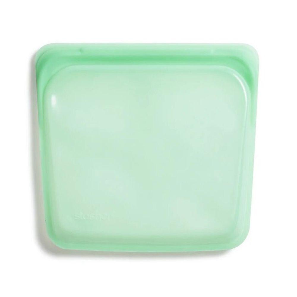 Stasher - 食品級白金矽膠密封食物袋-Sandwich方形-薄荷綠 (443ml)