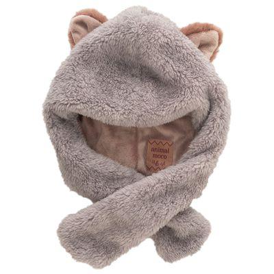 動物造型超柔軟保暖圍脖帽-小貓-灰 (頭圍50-54cm)