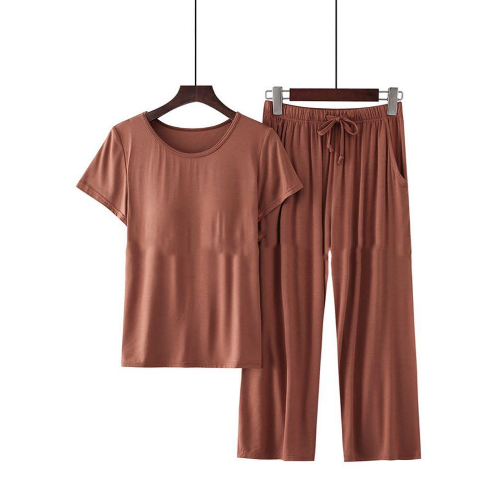 莫代爾柔軟涼感Bra T家居服-七分褲套裝-焦糖色