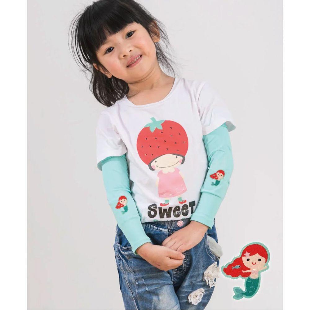 貝柔 Peilou - UPF50+兒童高效涼感防蚊抗UV袖套-(貼布繡)-美人魚-綠 (F)