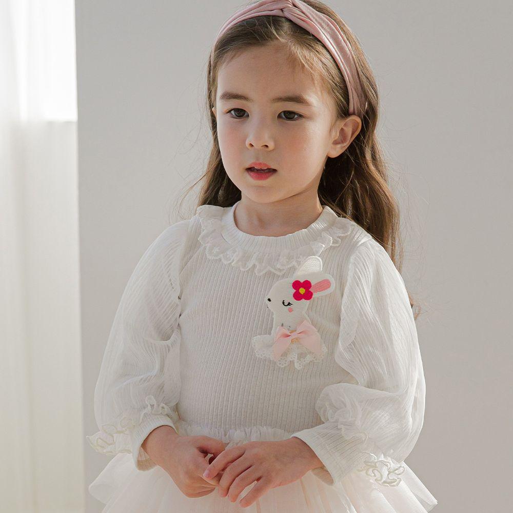 韓國 mari an u - 小兔子網紗泡泡袖上衣-象牙白