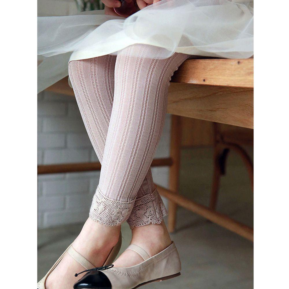 韓國 PuellaFLO - 雕花鏤空針織薄款內搭褲-藕粉