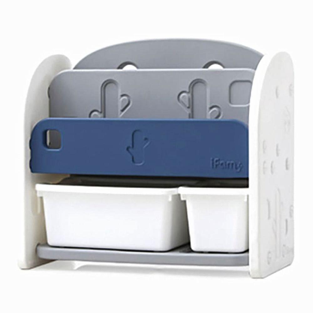 韓國 iFam - 書架收納組 〈附白色收納盒x2〉-深藍色