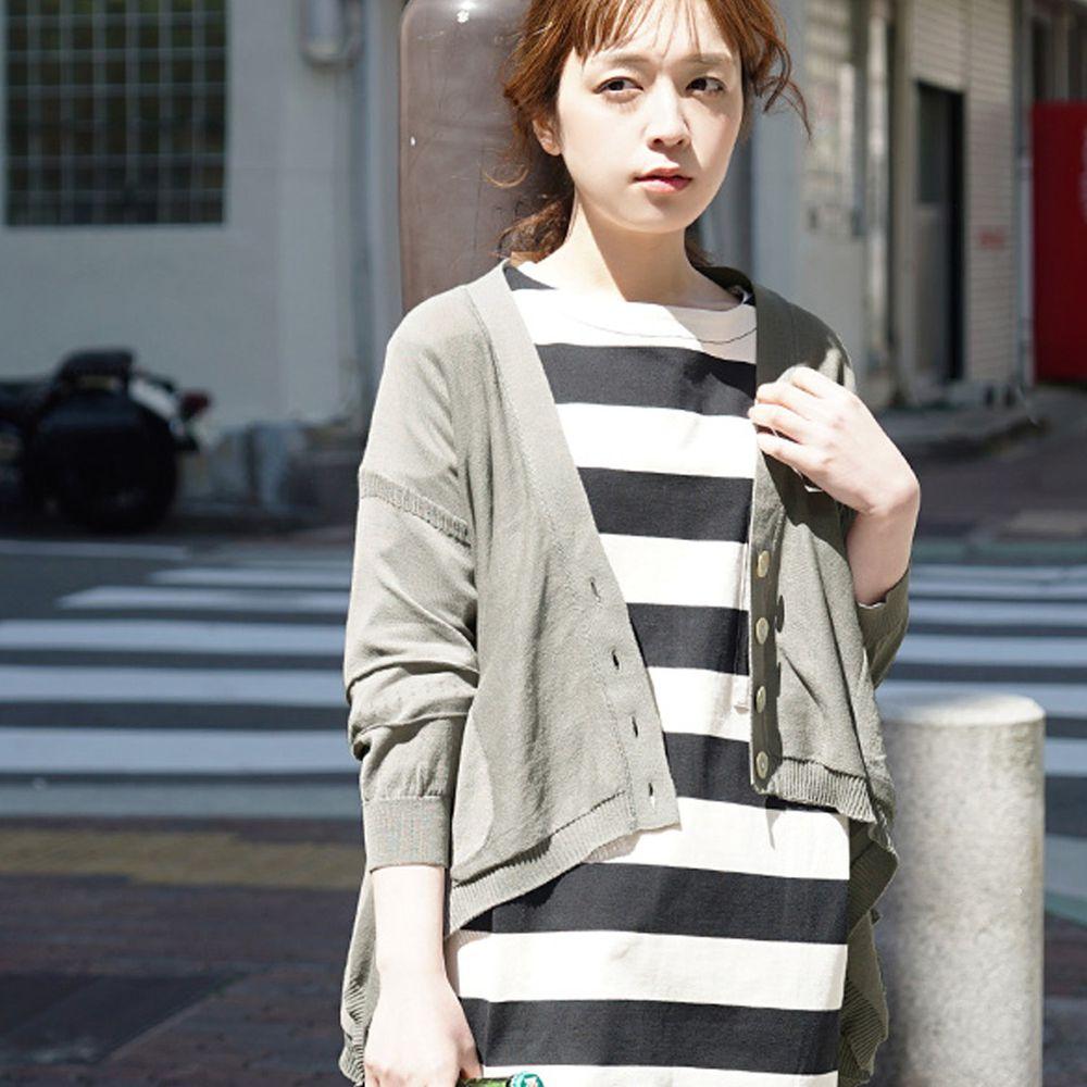 日本 zootie - 涼感防曬速乾 不規則剪裁罩衫/外套-灰卡其