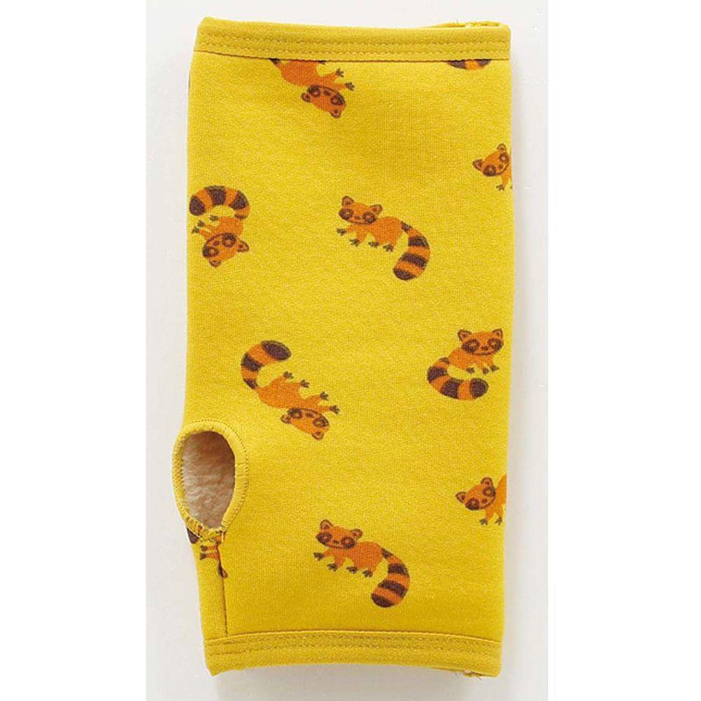 日本丸和 - 雙層機能裏起毛保暖半截手套-小浣熊-黃