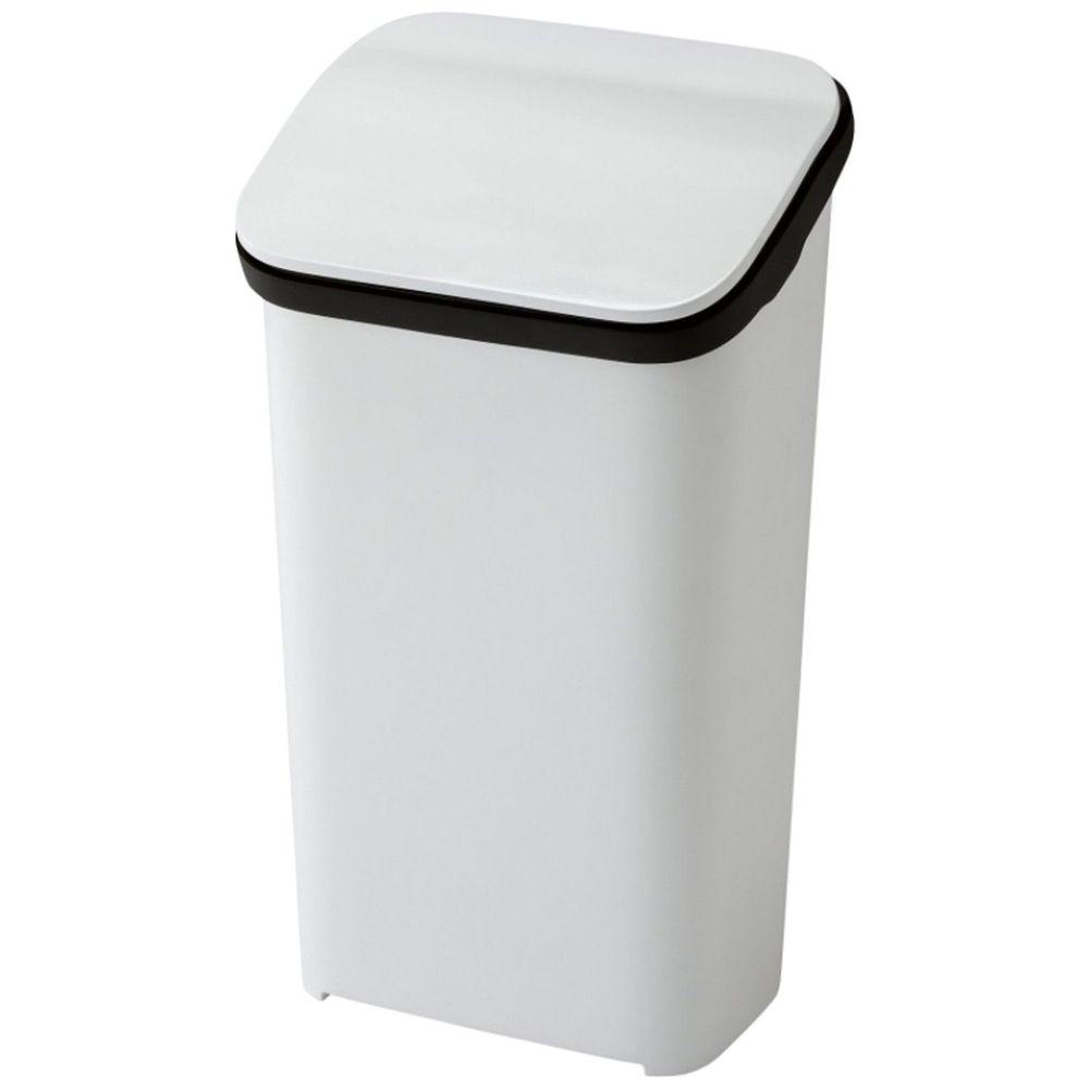 日本RISH - Smooth|按壓式緩衝功能垃圾桶-白色-19L