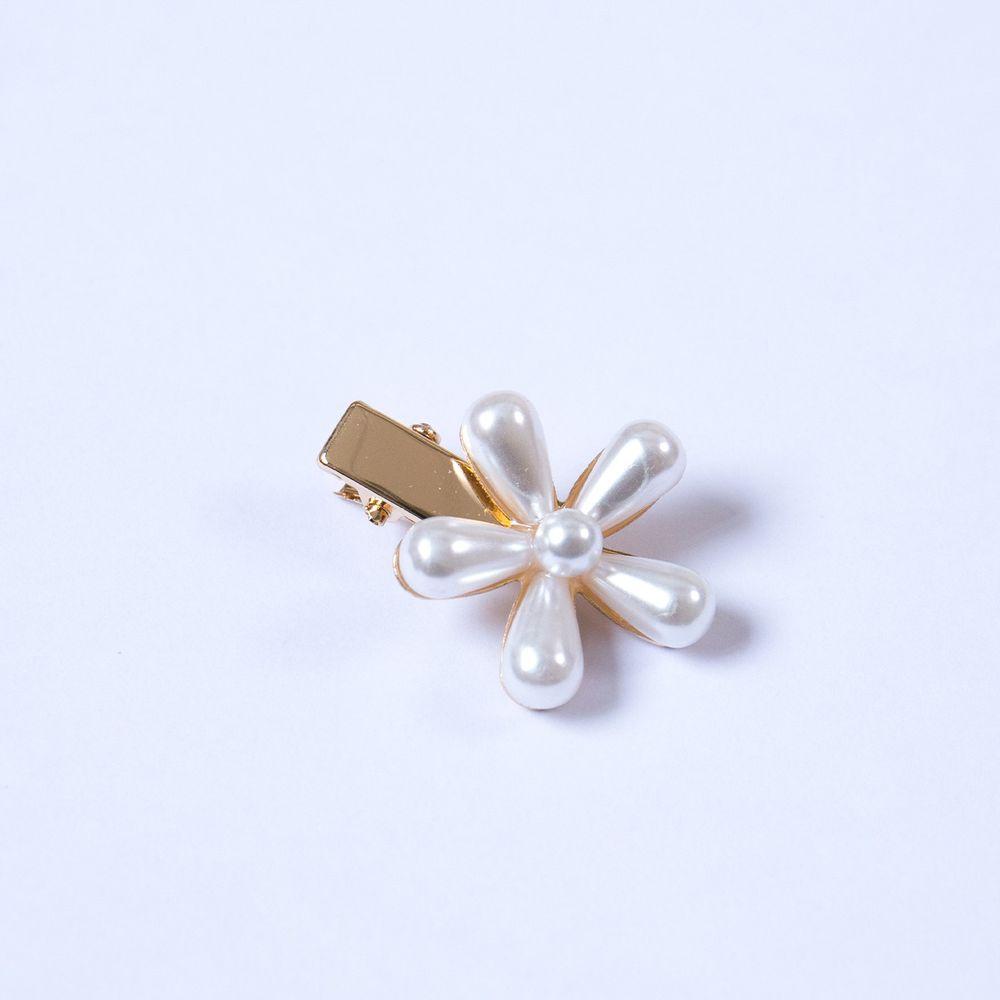 珍珠花朵鴨嘴夾-一朵