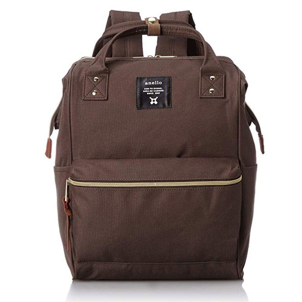日本 Anello - 日本大開口牛津布後背包-Regular大尺寸-BR咖啡色