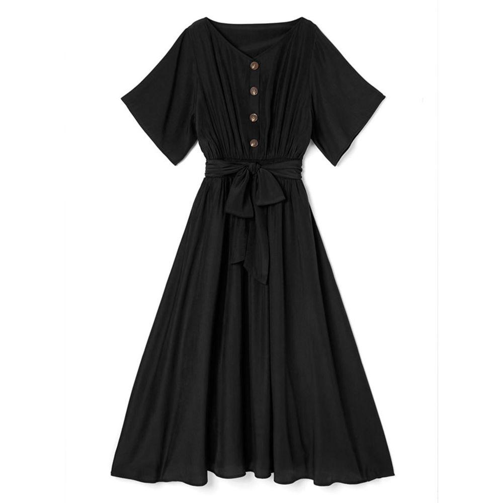 日本 GRL - 浪漫垂墜風排釦大綁帶五分袖洋裝-時尚黑