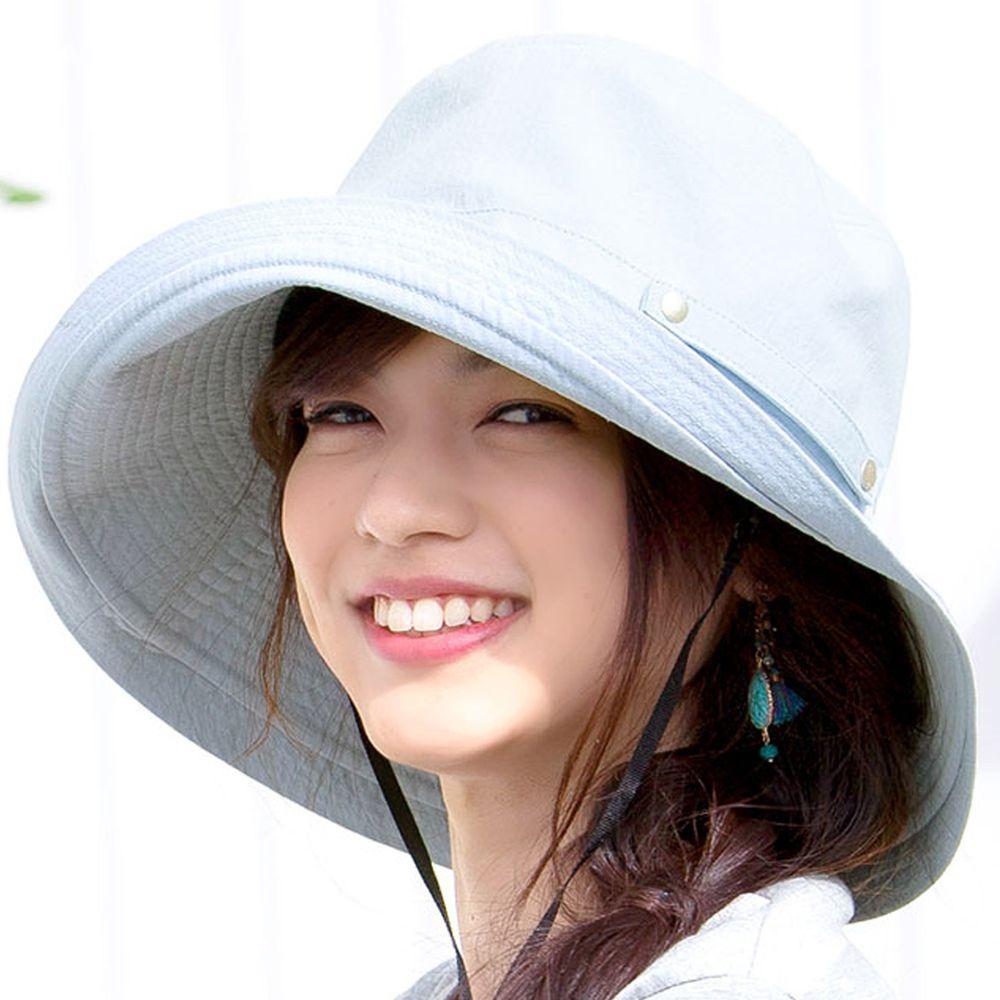日本服飾代購 - 【irodori】抗UV可捲收遮陽帽(附防風帽帶)-天空藍-純棉