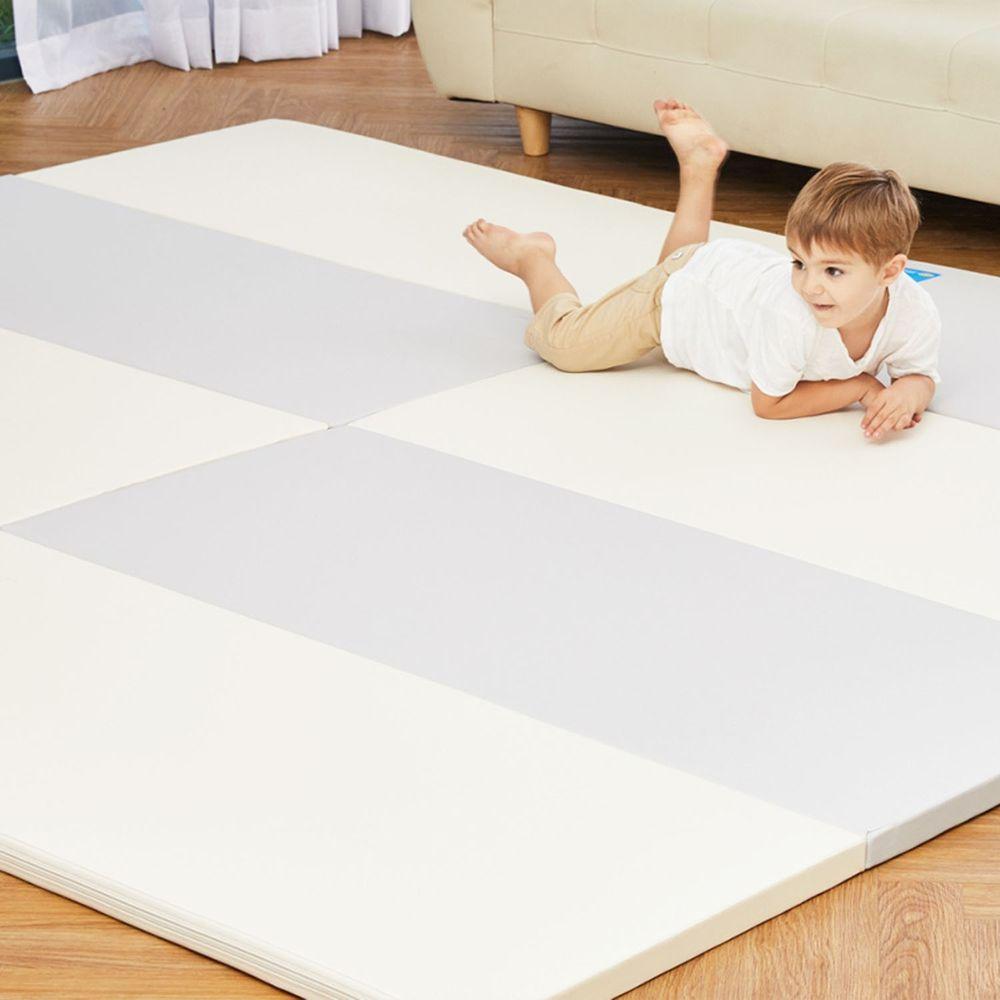 Alzipmat - 時尚經典四折折疊墊地墊-經典雙色灰
