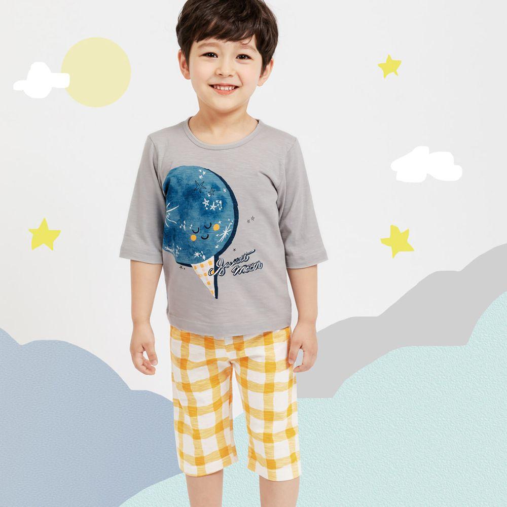 韓國 Mellisse - 韓製極致細柔7分袖家居服(無螢光棉)-閃閃月亮冰淇淋-灰藍