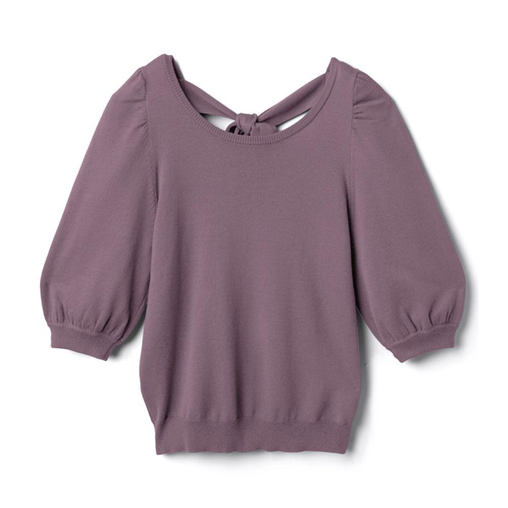 日本 GRL - 美背蝴蝶結綁帶針織五分袖上衣-薰衣草