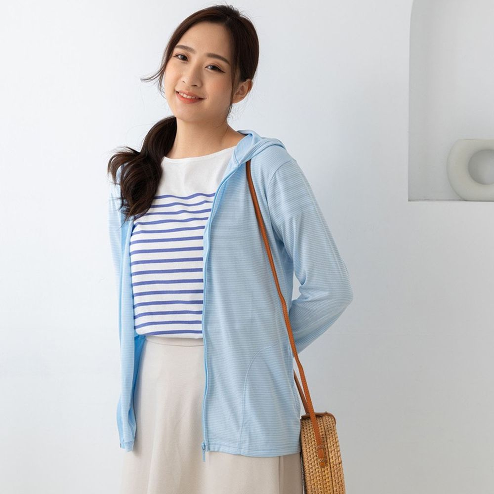 貝柔 Peilou - 日本水潤白抗UV保濕防曬外套-水晶藍
