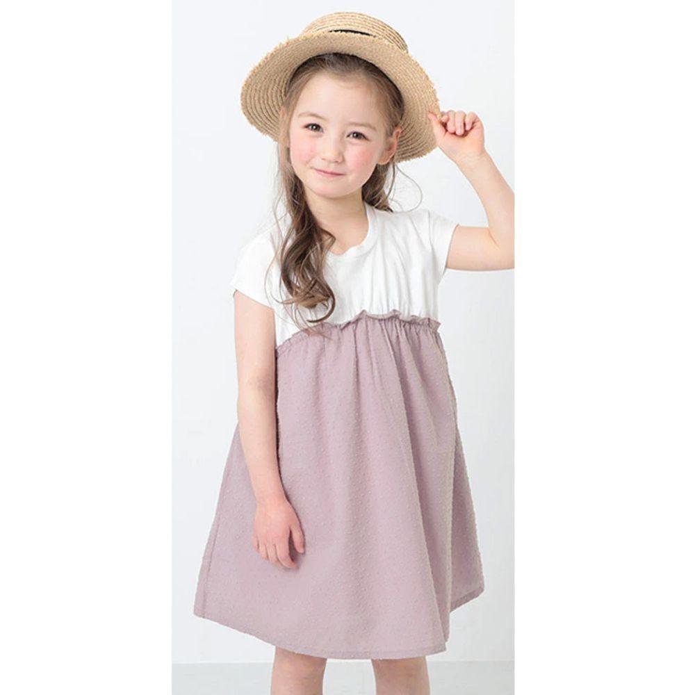 日本 devirock - 純棉短袖洋裝-米X紫