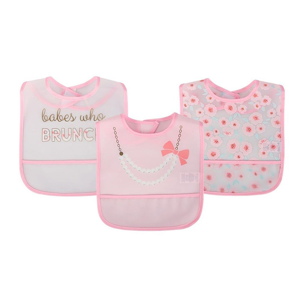 美國 Luvable Friends - 嬰幼兒雙面防水圍兜3入組-項鍊粉蝴蝶