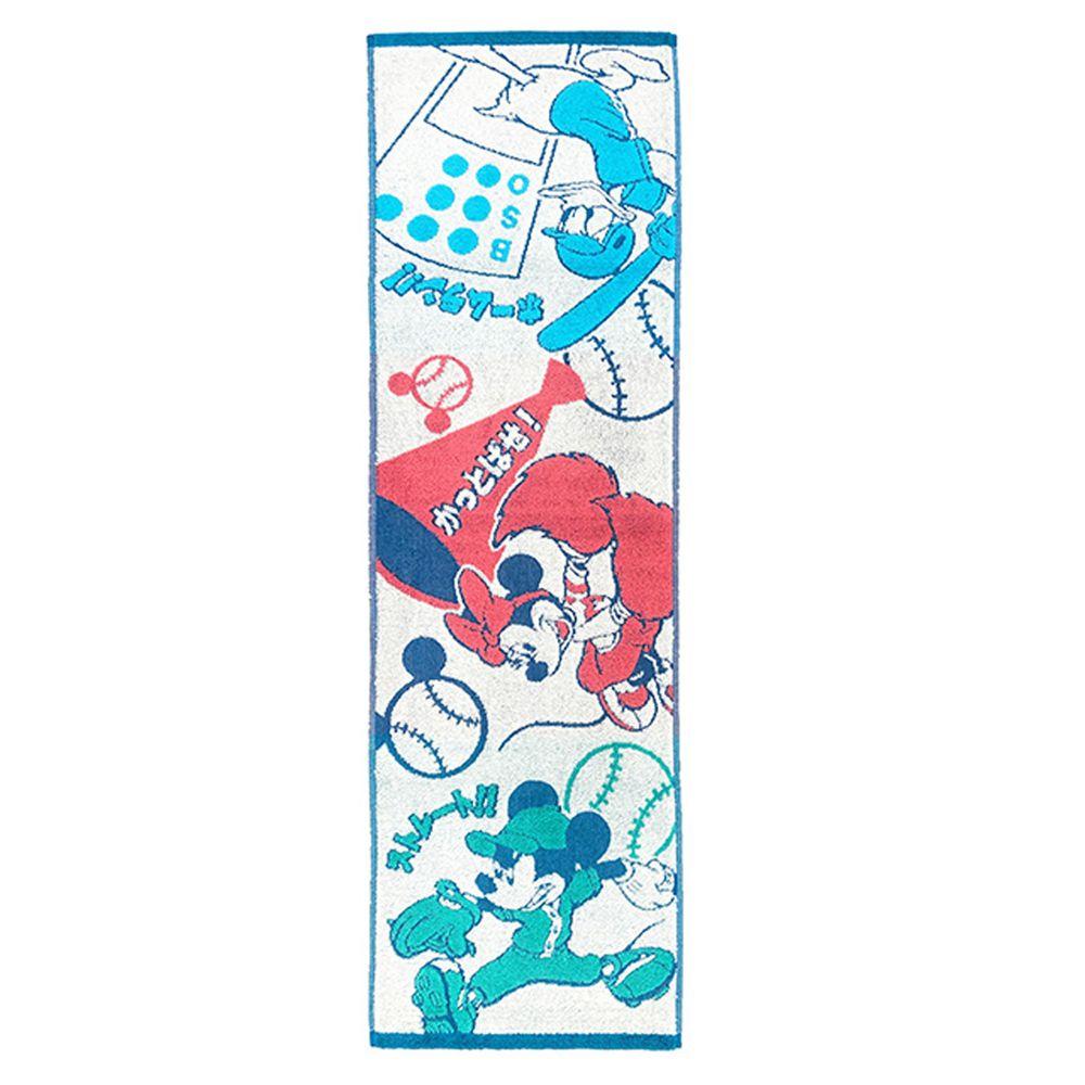 日本代購 - 卡通長型運動毛巾-米奇米妮棒球 (34x100cm)