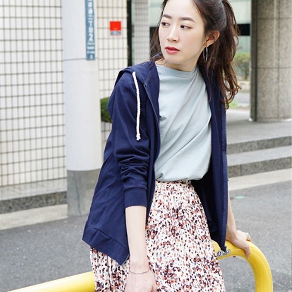 日本 zootie - 撥水X吸水速乾加工 抗透汗純棉防曬連帽外套-深藍