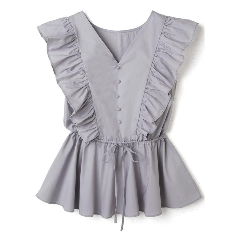日本 GRL - 大荷葉綁帶排釦V領無袖上衣-星塵藍