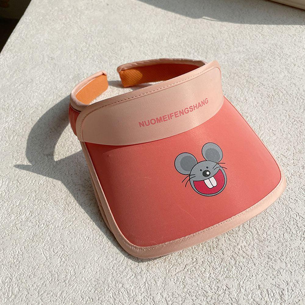 兒童大帽沿空頂遮陽帽-小老鼠-橘色 (50-53cm)