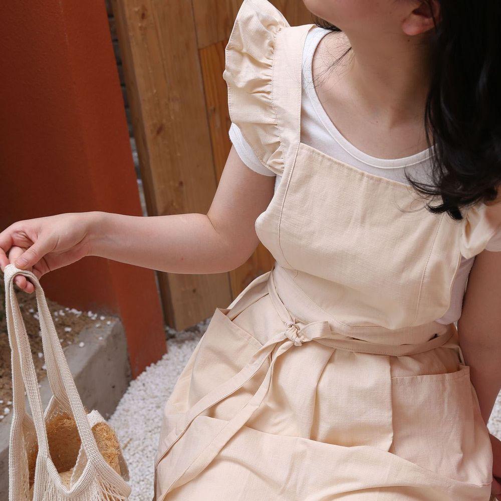 浪漫荷葉袖肩帶圍裙-杏色