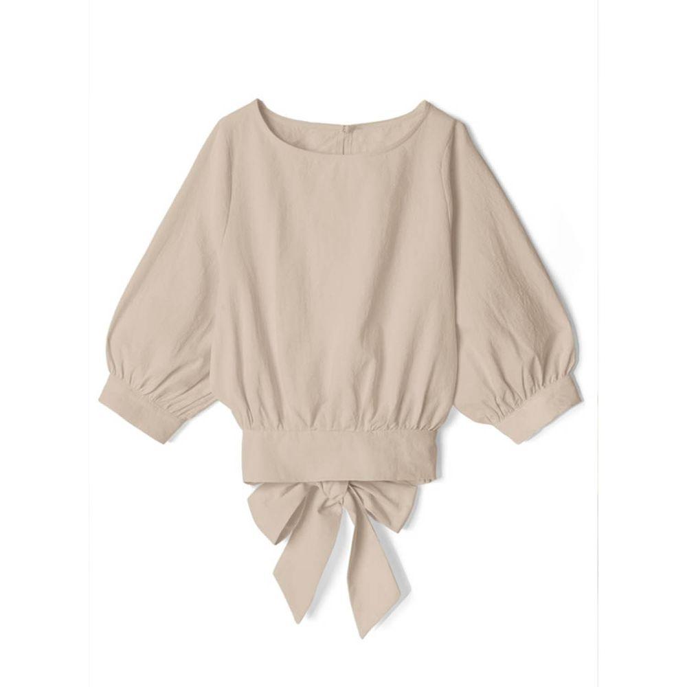 日本 GRL - 後腰大蝴蝶結綁帶五分袖上衣-淺灰杏