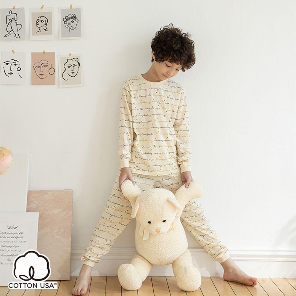 Annypepe - 兒童純棉金色年華長袖居家服-黃 (110-150cm)