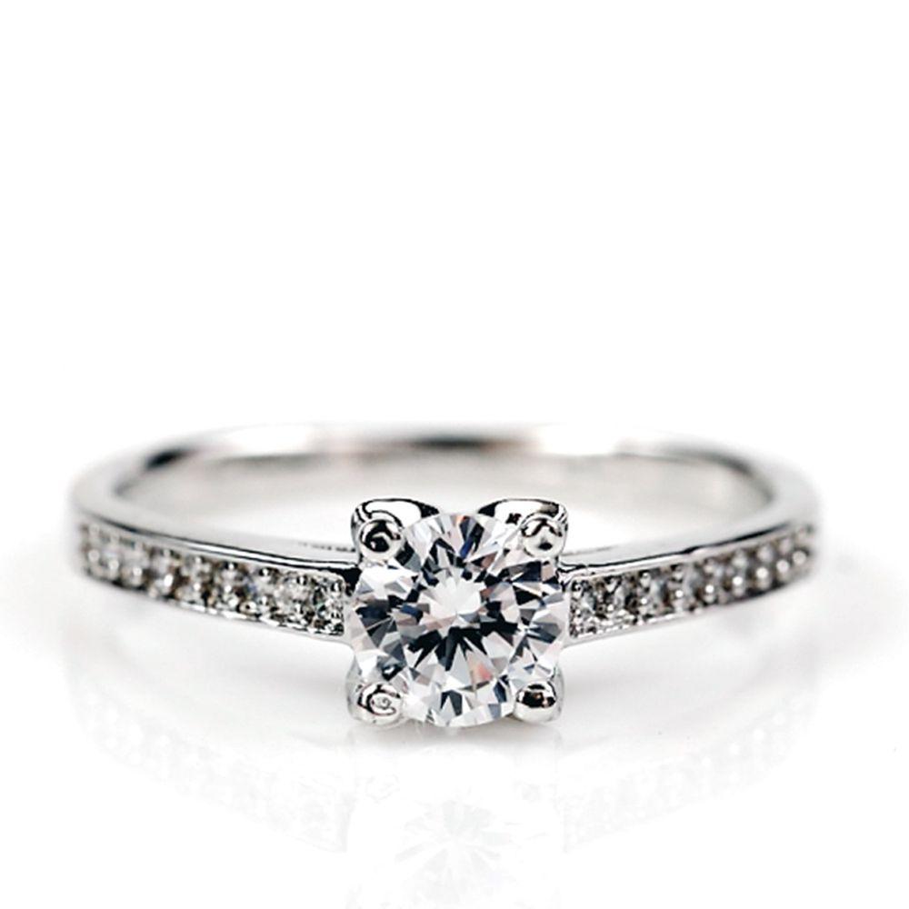 美國ILG鑽飾 - Queen 寵愛女王 0.75克拉戒指 – 頂級美國ILG Diamond,媲美真鑽亮度的鑽飾【RI071】-加贈高級珠寶級絨布盒1個-外國抗敏材質電鍍頂級白K金色