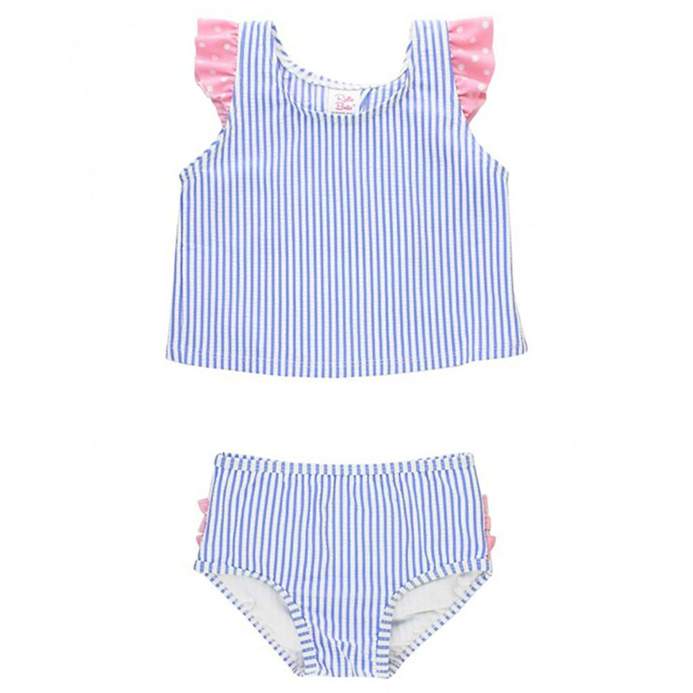 美國 RuffleButts - 小女童UPF 50+防曬兩件式無袖泳裝-粉紫甜心