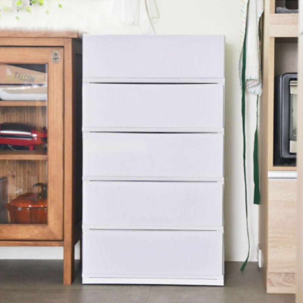 日本伸和 Shinwa - 日本製五層抽屜收納櫃-DIY組裝-淡雅灰-單層32L*5層