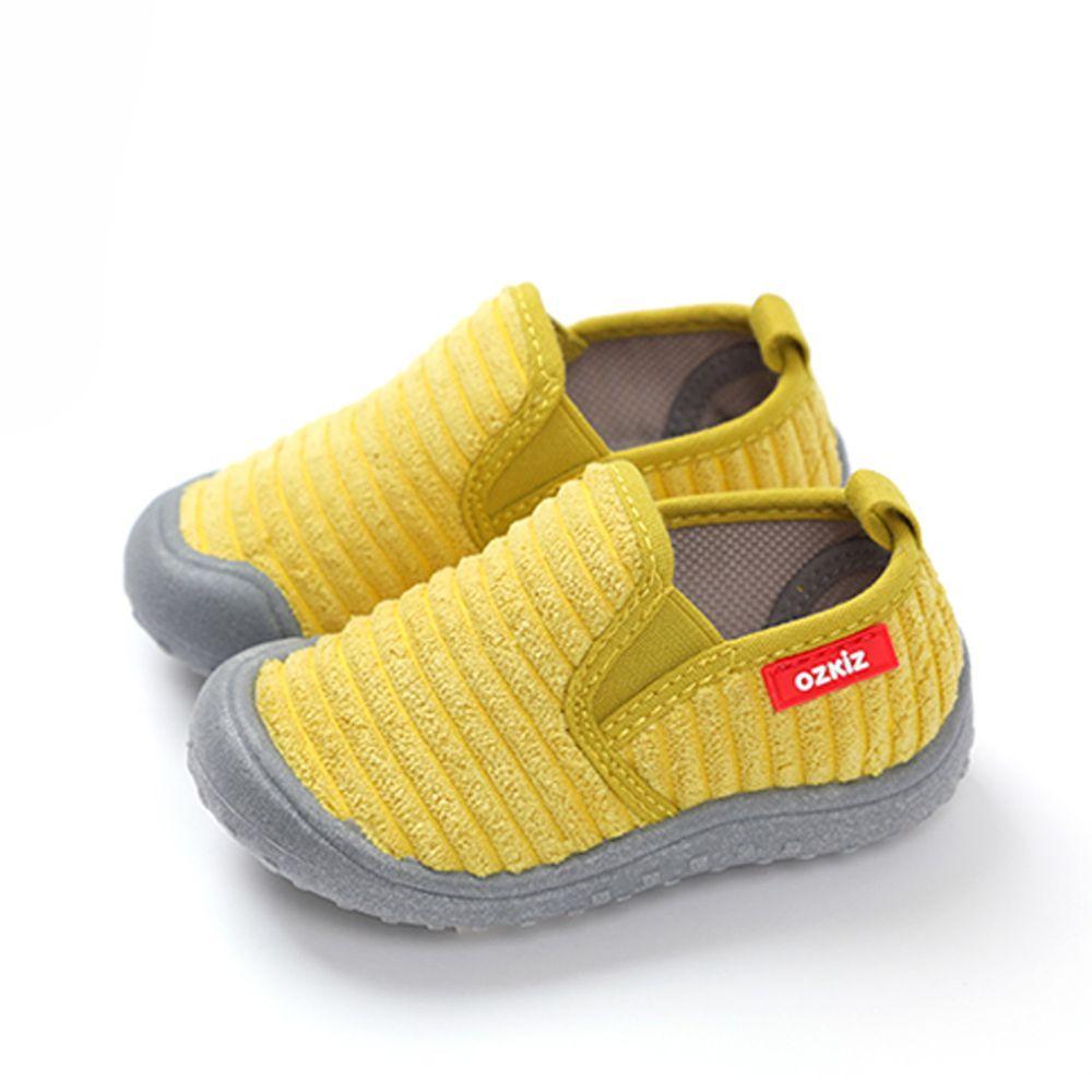 韓國 OZKIZ - (剩13cm)絨布超防滑兒童休閒鞋/室內鞋-芥末黃