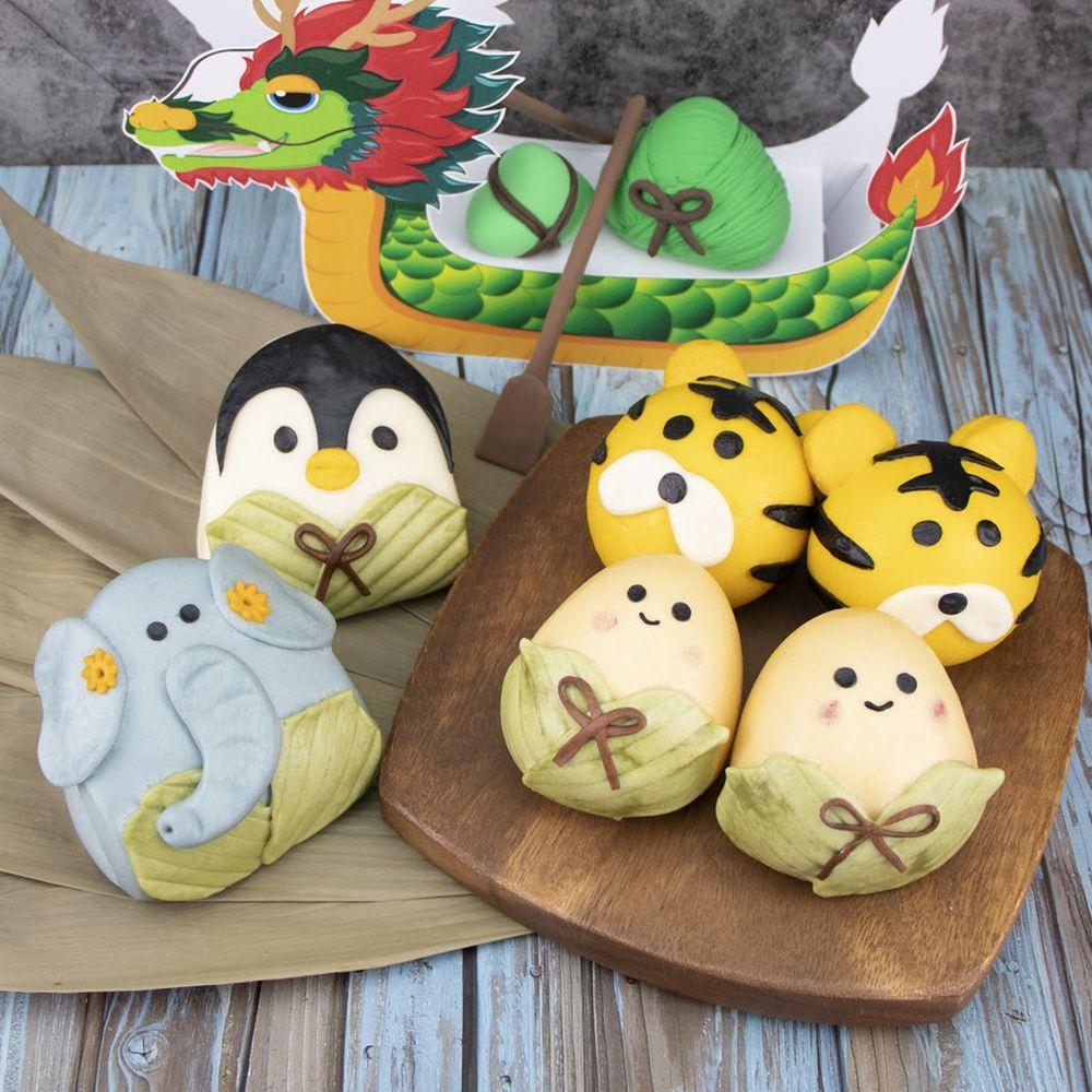 艾酷奇 - 好運高粽禮盒 (6入)-粽子娃娃(芋泥)X2、老虎(紅豆)X2、大象粽子刈包X1、企鵝粽子刈包X1 (360公克±3%)-團購專案