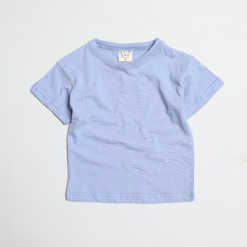 韓國製 - 水洗加工布糖果色純棉T-藍