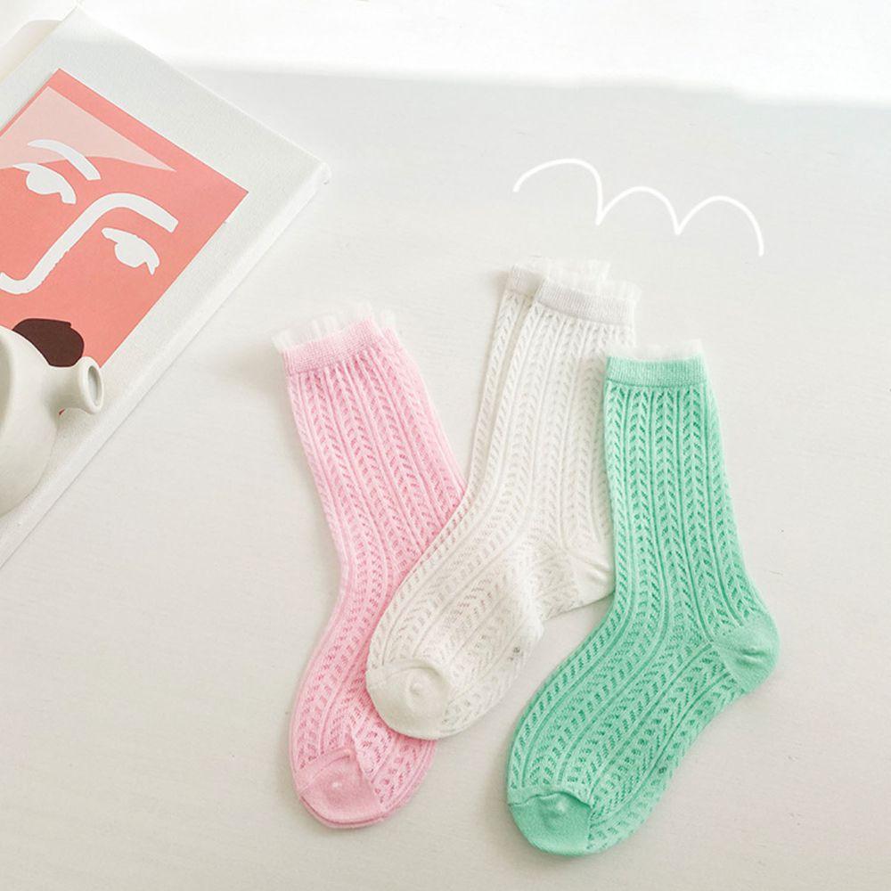 馬卡龍色系花邊網眼棉質短筒襪(3雙一組)-白/粉紅/薄荷綠