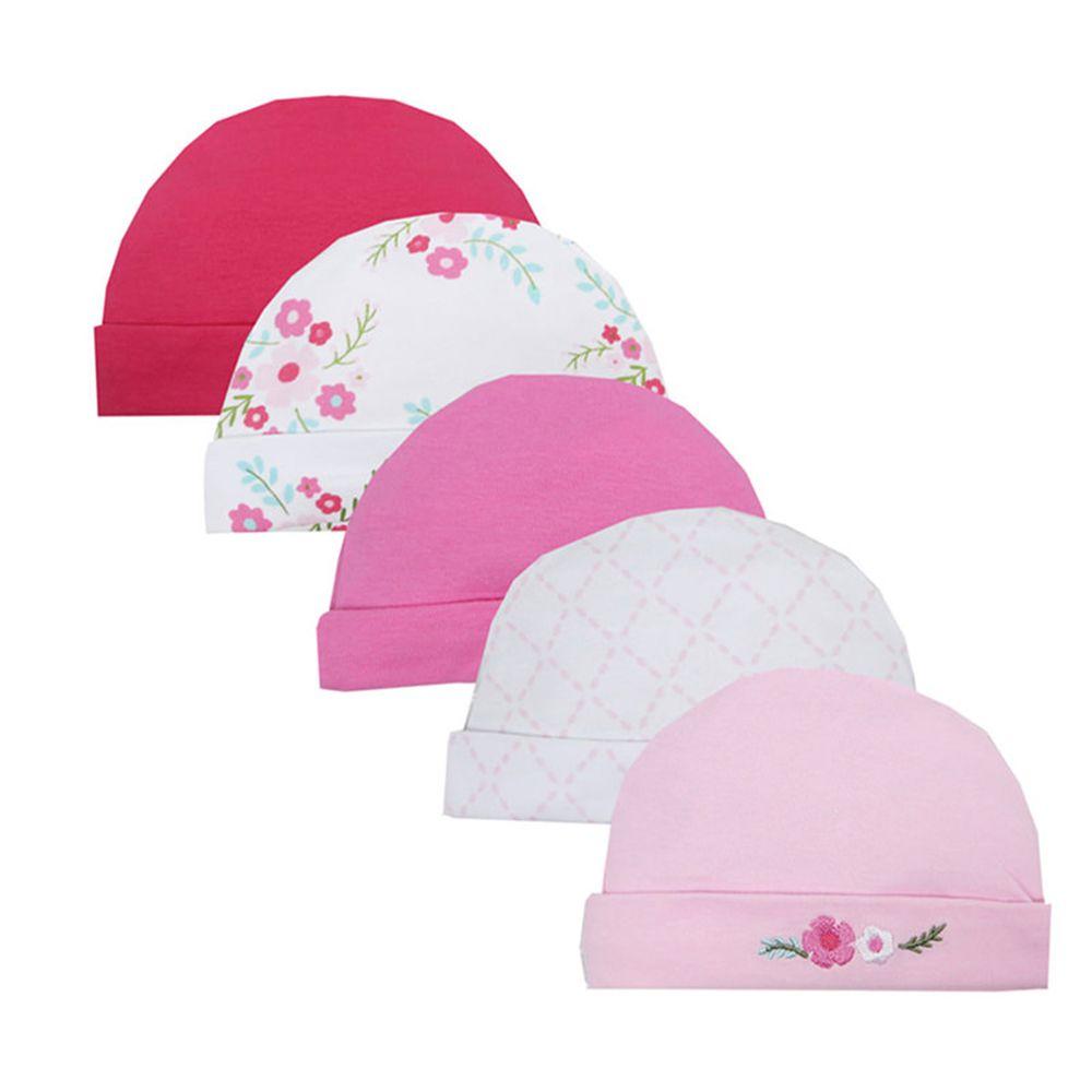 美國 Luvable Friends - 100%純棉新生兒棉帽 保暖帽5件組-小花園 (0-6M)