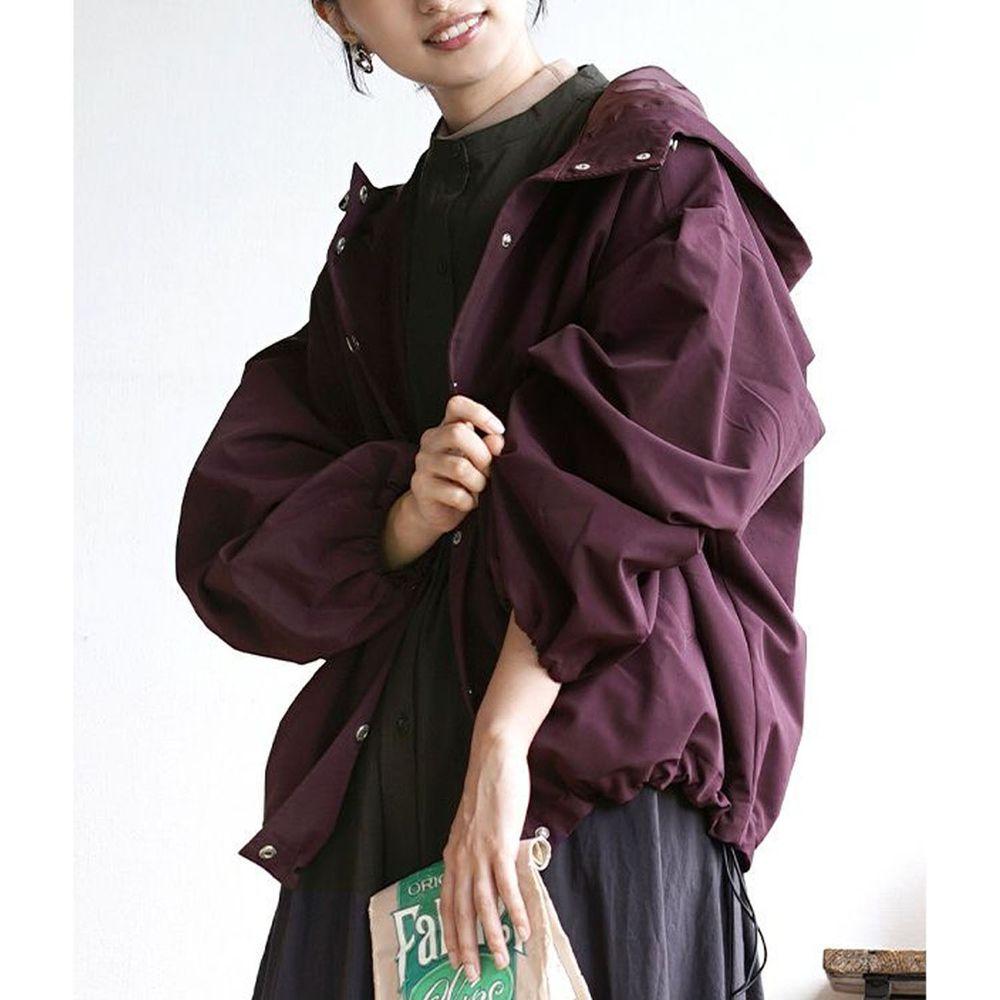 日本 zootie - 抽繩設計修身寬鬆連帽休閒外套-紫
