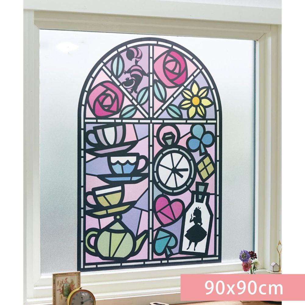日本千趣會 - 迪士尼 日本製 90%抗UV光影窗貼(靜電式)-愛麗絲夢遊仙境 (90x90cm)