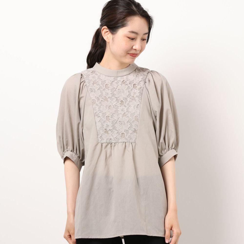 日本 Riche Glamour - 蕾絲拼接雪紡五分袖上衣-灰杏