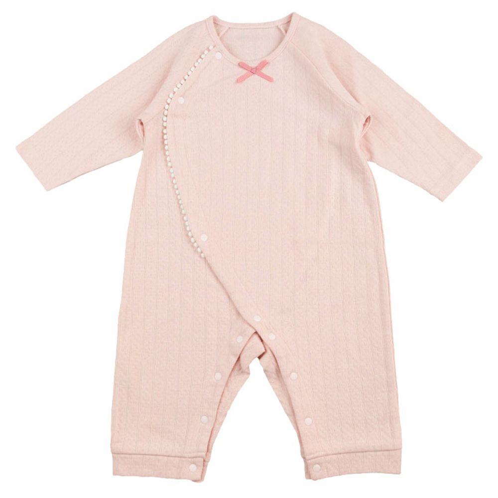 akachan honpo - 女有機棉長袖兔裝-粉紅色