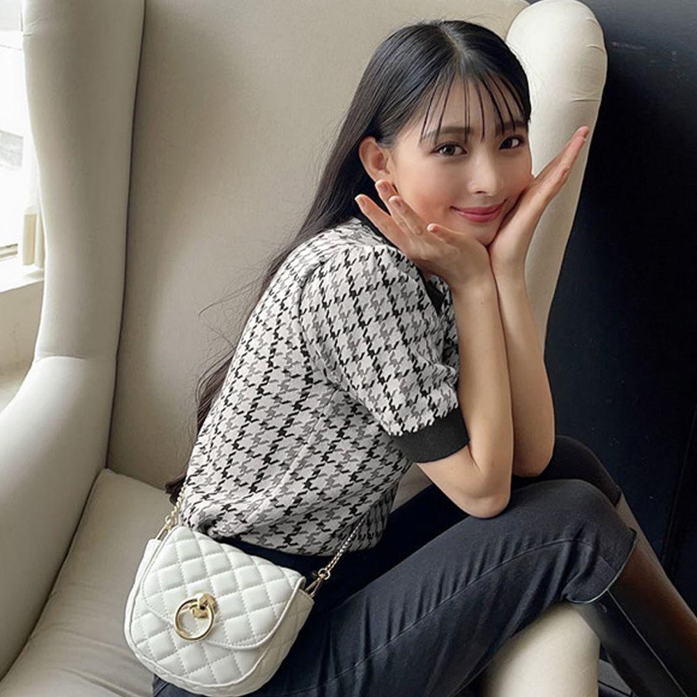 日本 GRL - 英倫千鳥格針織短袖上衣-黑白