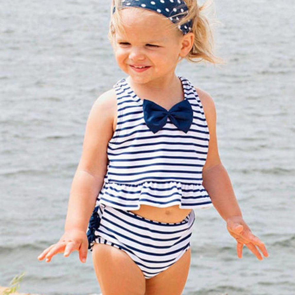 美國 RuffleButts - 小女童無袖比基尼泳裝-藍蝴蝶結條紋