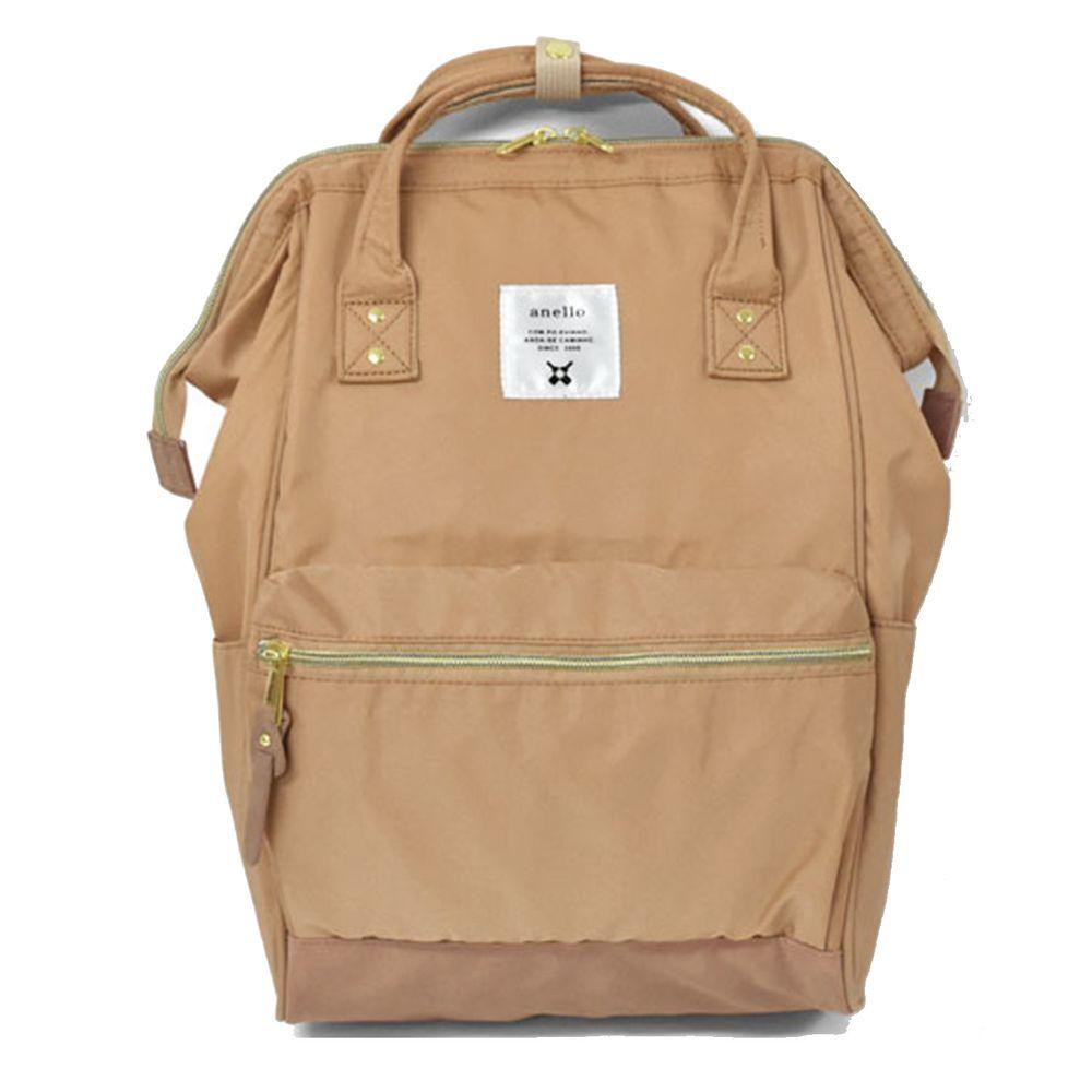 日本 Anello - 日本大開口高密度尼龍後背包-Regular大尺寸-NPI粉金