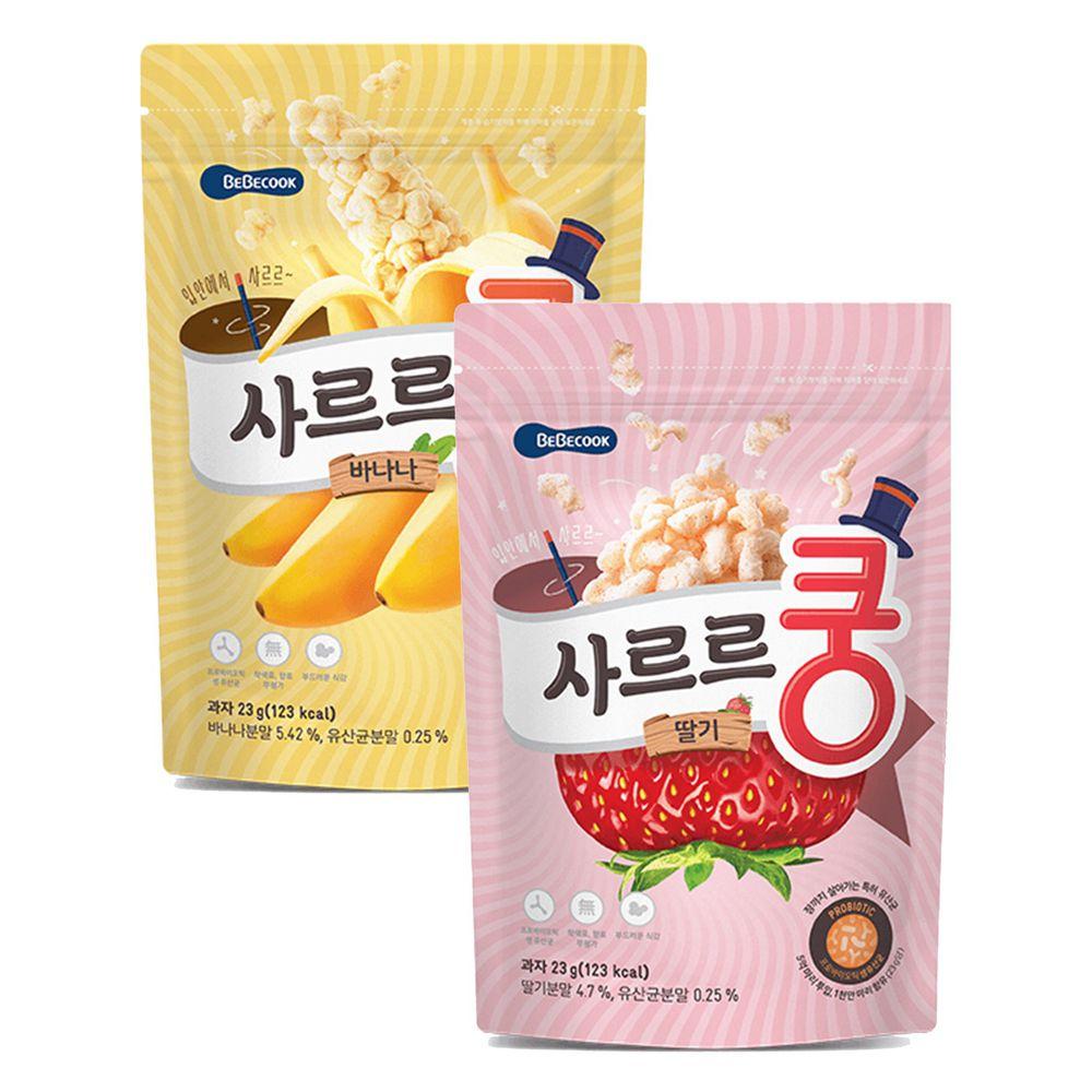 BEBECOOK 寶膳 - 智慧媽媽 幼兒益生菌泡芙-二入組(12M以上)-香蕉*1+草莓*1