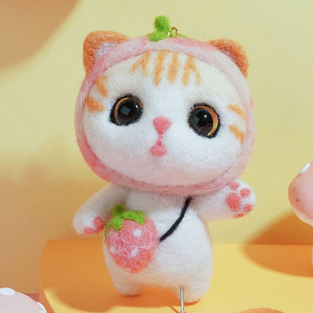 Diy療癒貓咪羊毛氈戳戳樂材料包-粉紅小貓咪