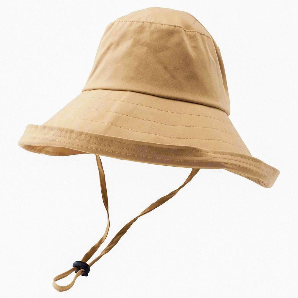 日本小泉 - UV cut 99% 涼感 大帽簷遮陽帽-防潑水-杏 (可調頭圍~58cm)