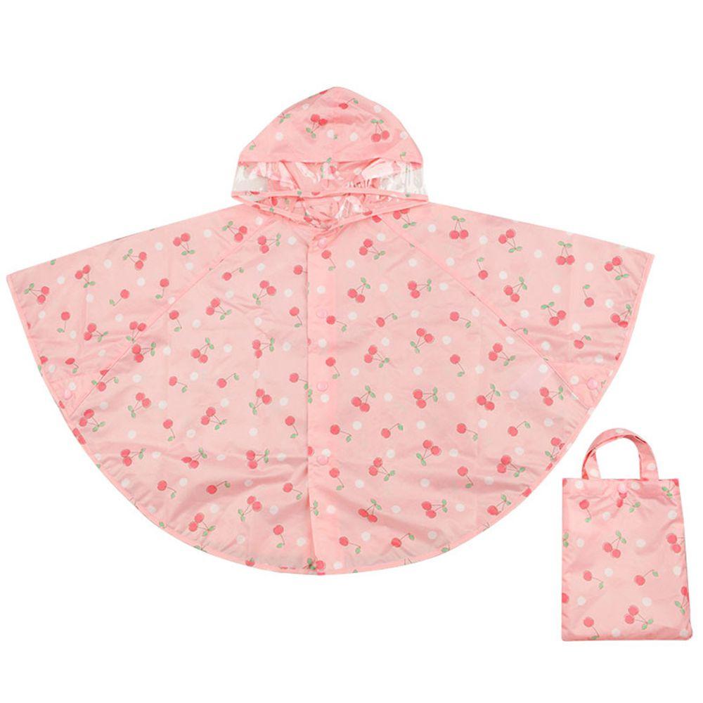 akachan honpo - 短斗篷式雨衣-櫻桃-粉紅色 (80~95cm)