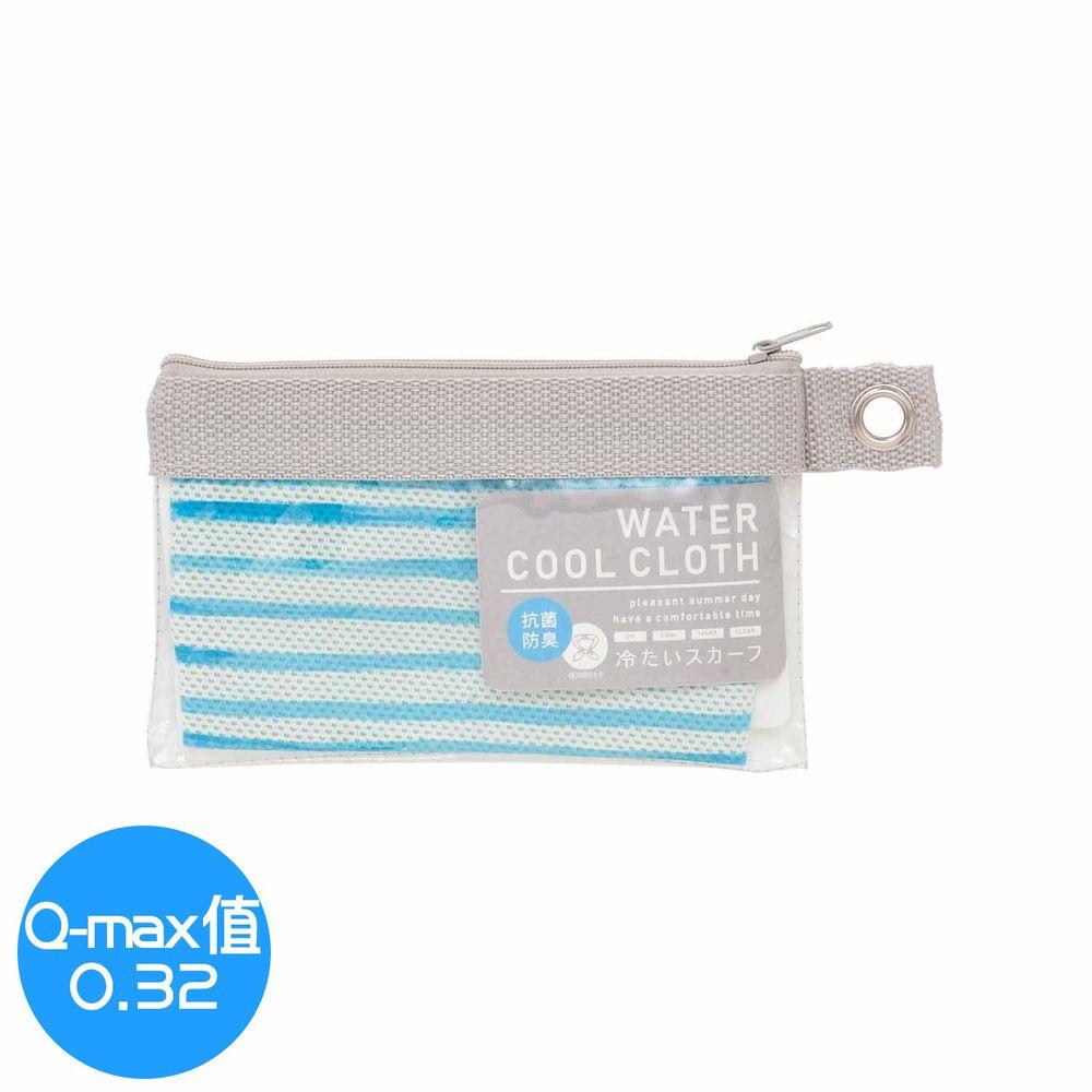 日本小泉 - UV cut 90% 水涼感領巾(附保冷劑/收納袋)-水藍條紋 (8.5x88cm)